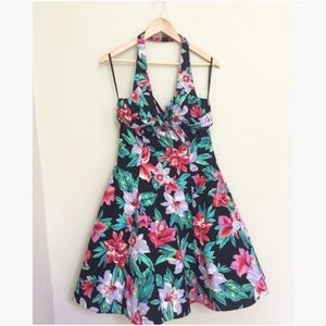 Vintage Hawaiian Floral Print Tulle Halter Dress